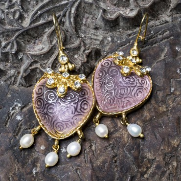 Pink Hearts Earrings