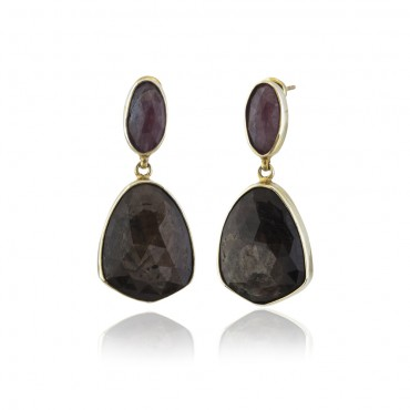 Brown Sapphire & Ruby Earrings