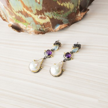 Aquamarine Earrings with Sea shell & Amethyst
