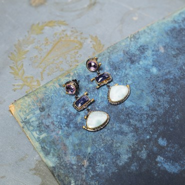 Amethyst Earrings with Larimar Stones